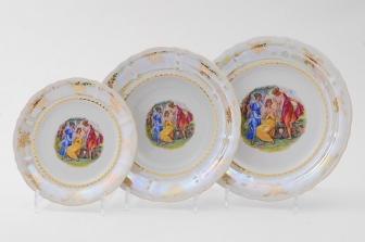 Набор тарелок 18 предметов (25см+23с м+19см)  0676